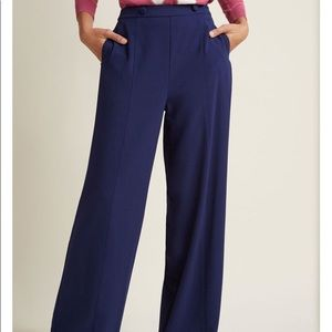 Wide-Leg Trousers with Button Waist